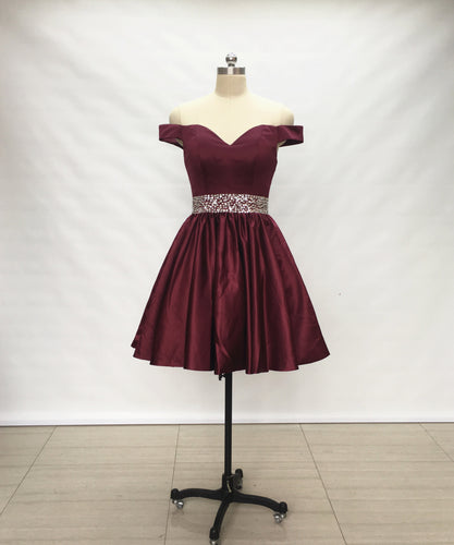 Off Shoulder Burgundy Satin Short Homecoming Dress