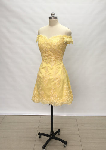 Off Shoulder Sweetheart Yellow Lace Short Homecoming Dress