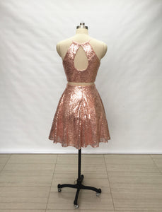 Two Piece Rose Gold Sequin Short Homecoming Dress