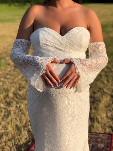 Mermaid Sweetheart Ivory Lace Long Maternity Wedding Dress with Long Sleeves