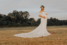 Load image into Gallery viewer, Strapless Ivory Lace Long Maternity Wedding Dress Boho with Long Train