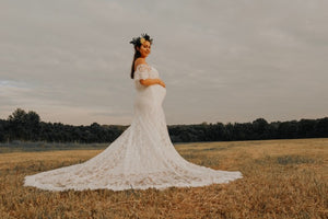 Strapless Ivory Lace Long Maternity Wedding Dress Boho with Long Train