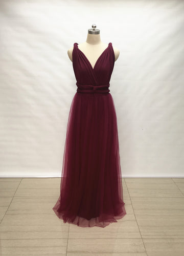 Custom Burgundy Tulle Overlay Spandex Long Convertible Bridesmaid Dress