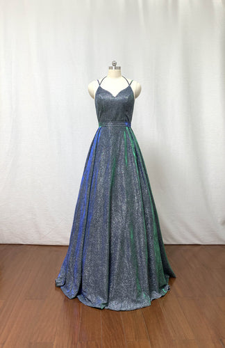 Glitter Emerald Green Long Prom Dress 2020