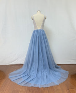 Beaded Dusty Blue Tulle Long Prom Dress 2020 with Slit
