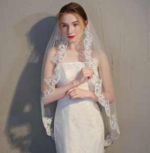 One Tier Lace Trim Ivory Wedding Veil with Comb