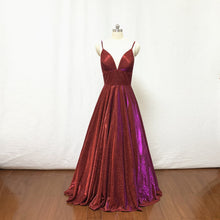 Load image into Gallery viewer, Spaghetti Straps Burgundy Glitter Long Prom Dress 2020