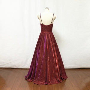 Spaghetti Straps Burgundy Glitter Long Prom Dress 2020