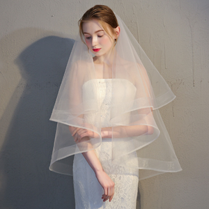 "Two Tier 2"" Horsehair Trim Ivory Wedding Veil with Comb"