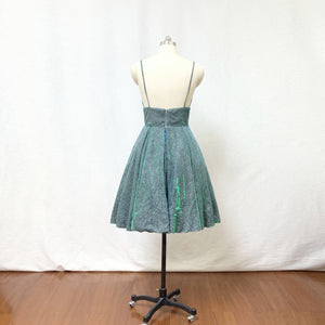 Spaghetti Straps Silver Green Glitter Short Homecoming Dress with Pockets