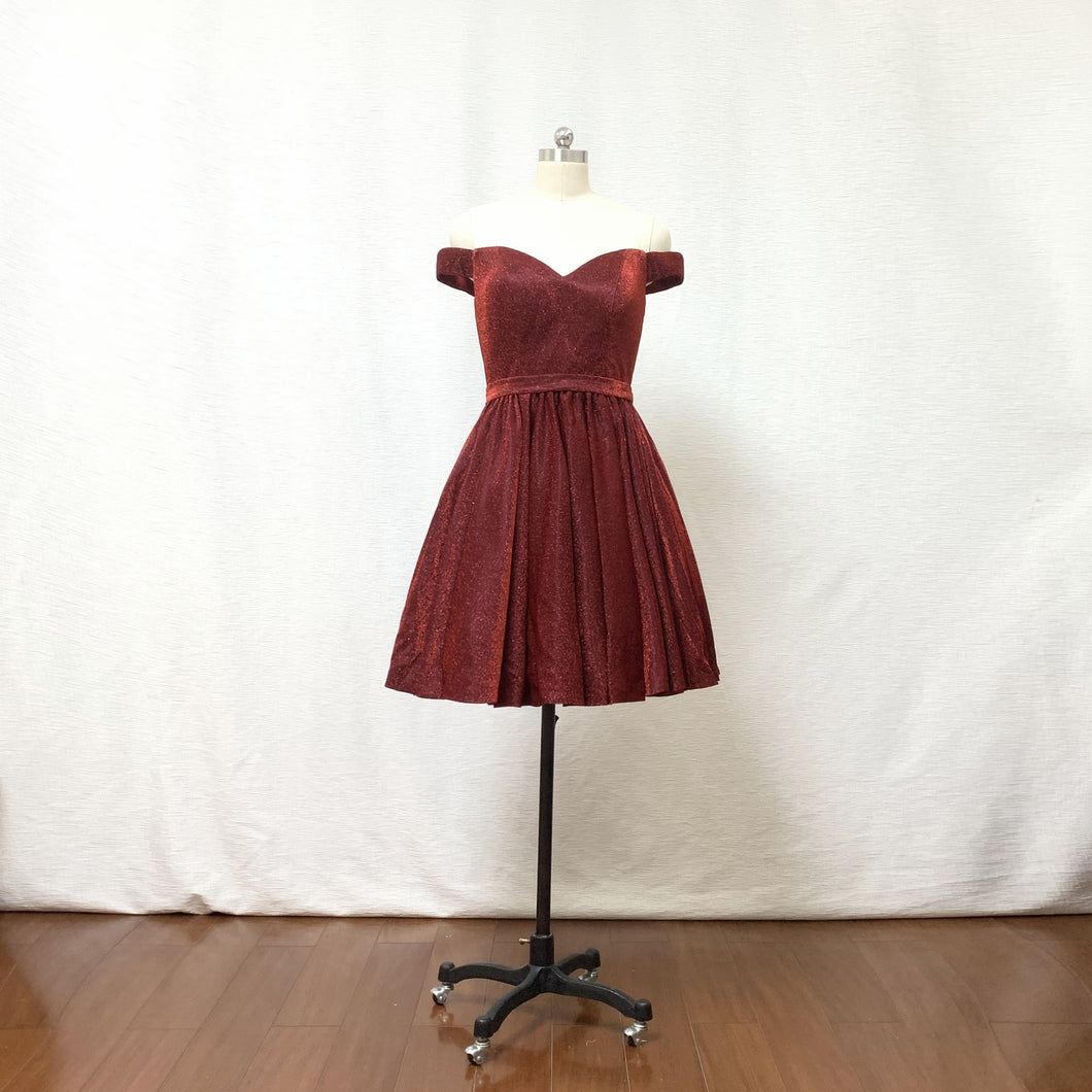 Off the Shoulder Burgundy Glitter Short Homecoming Dress with Pockets
