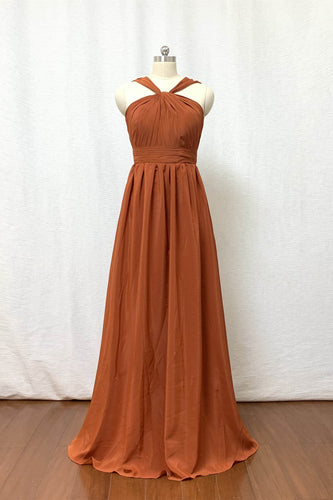Burnt Orange Chiffon Long Bridesmaid Dress