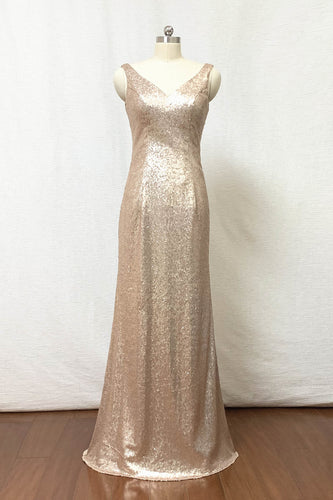 Sheath Matte Champagne Gold Sequin Long Bridesmaid Dress
