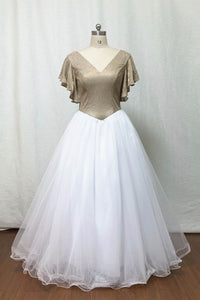 Glitter Prom Dress 2020 Ball Gown Champagne Gold Glitter White Tulle Long Evening Dress with Flutter Sleeves
