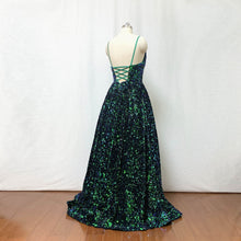 Load image into Gallery viewer, Sequin Prom Dress 2020 Ball Gown Forest Green Long Evening Dress