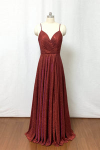 Burgundy Prom Dress 2020 Spaghetti Straps Glitter Long Evening Dress with Slit