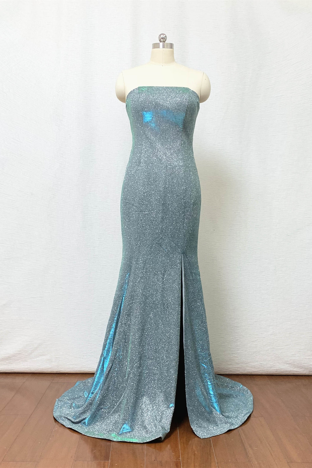 Mermaid Prom Dress 2020 Strapless Silver Green Glitter Long Evening Dress with Slit