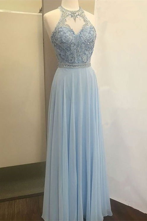 Be Our Models - Beaded Halter Blue Chiffon Maxi Prom Dress Formal Evening Dress 2020