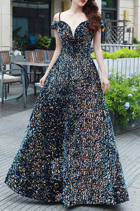 Be Our Models - Off the Shoulder Iridescent Big Sequin Long Prom Dress Formal Evening Dress 2020 Corset Back