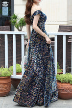 Load image into Gallery viewer, Be Our Models - Off the Shoulder Iridescent Big Sequin Long Prom Dress Formal Evening Dress 2020 Corset Back