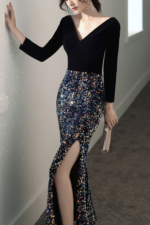 Black Velvet Prom Dress 2020 Mermaid Glitter Big Sequin Maxi Dress