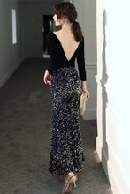 Load image into Gallery viewer, Black Velvet Prom Dress 2020 Mermaid Glitter Big Sequin Maxi Dress