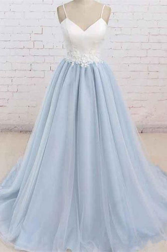 Be Our Models - Spaghetti Straps Ivory Satin Light Sky Blue Tulle Maxi Prom Dress Formal Evening Dress 2020