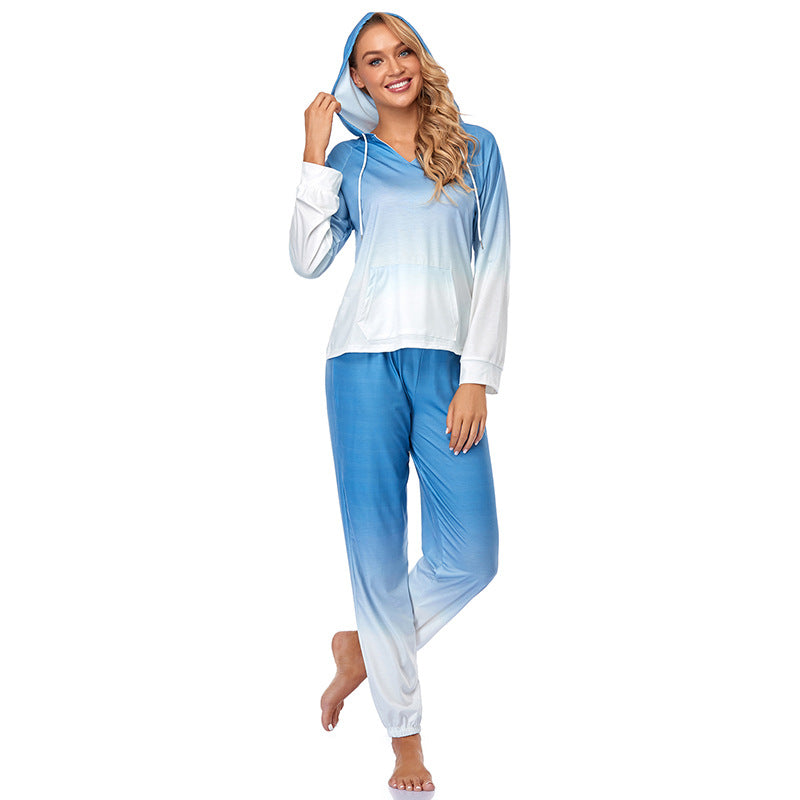 Womens Tie Dye Printed Long Sleeve Tops and Pants Long Pajamas Set Joggers PJ Sets Nightwear Loungewear