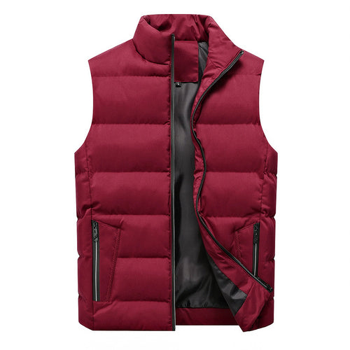 Burgundy Stand Collar Down Vest Sleeveless Jacket for Men Sale