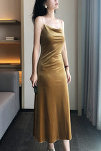 Load image into Gallery viewer, Gold Velvet Slip Midi Dress Cowl Neck