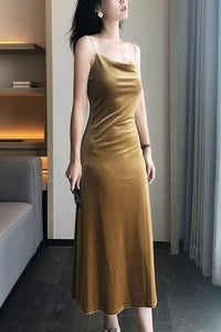 Gold Velvet Slip Midi Dress Cowl Neck