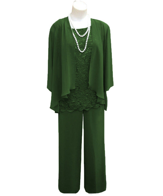 Ankle-length Mother of the Bride Dress Long Sleeves - 3 Pieces Green Chiffon Lace Pants Suit Plus Size