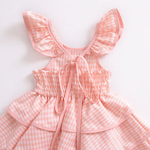 Load image into Gallery viewer, Pink Cotton Girls Tiered Skirt Dress