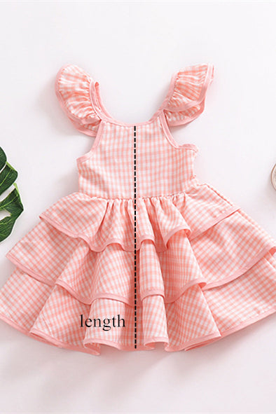 Pink Cotton Girls Tiered Skirt Dress