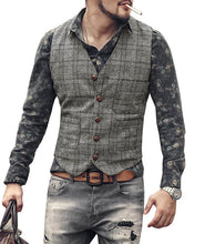 Load image into Gallery viewer, Mens Checkered Vest Grey Waistcoat Groomsmen Wedding