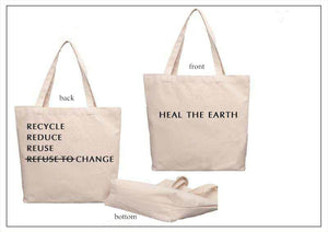 Organic Cotton Bag Washable Grocery Shopping Bag Reduce Reuse Recycle Heal the Earth