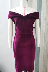 Off-the-shoulder Burgundy Velvet Midi Dress