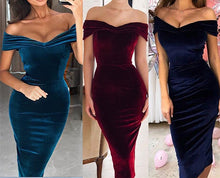 Load image into Gallery viewer, Off-the-shoulder Burgundy Velvet Midi Dress