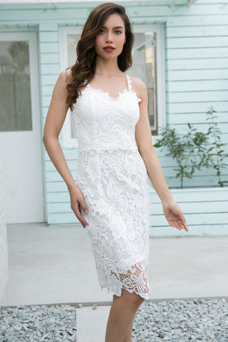 Spaghetti Straps White Lace Bodycon Midi Dress