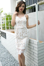 Load image into Gallery viewer, Spaghetti Straps White Lace Bodycon Midi Dress
