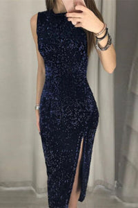 Scoop Navy Sequin Midi Dress with Slit