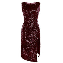 Load image into Gallery viewer, Scoop Navy Sequin Midi Dress with Slit