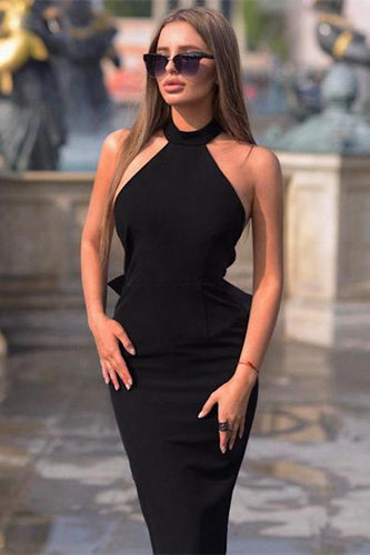 Halter Black Jersey Bodycon Midi Dress