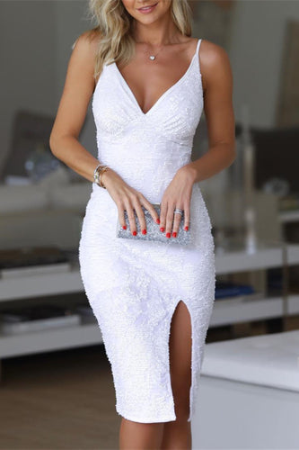 Spaghetti Straps White Sequin Bodycon Midi Dress with Slit