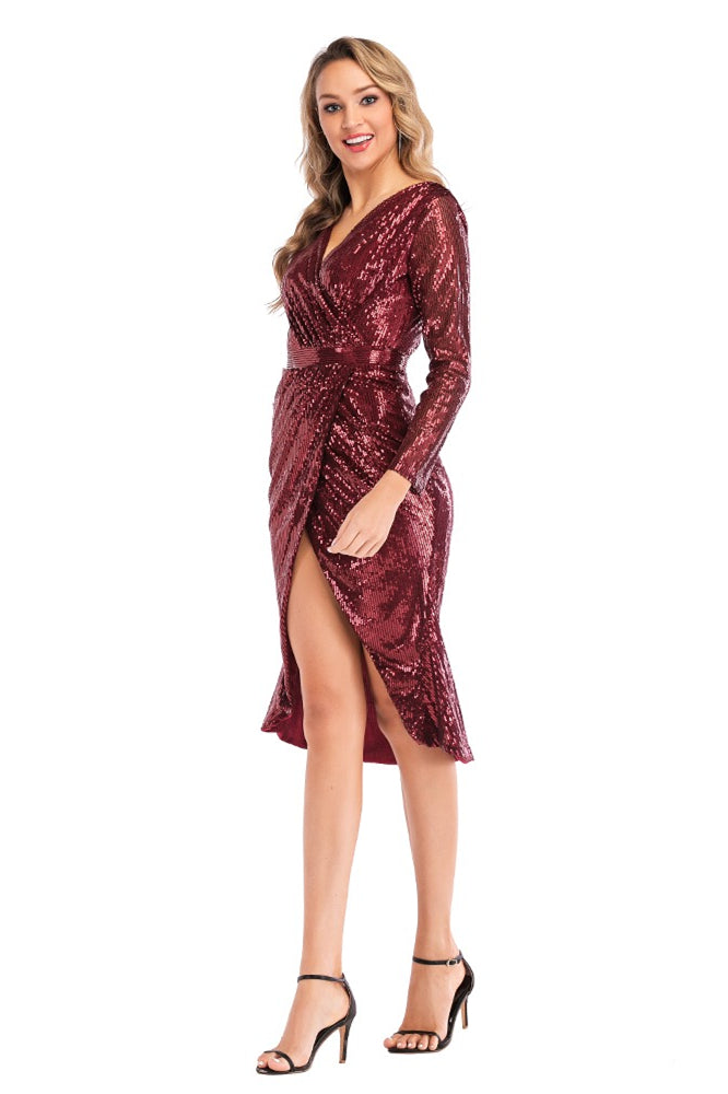 V-neck Burgundy Sequin Midi Dress with Long Sleeves