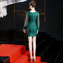 Load image into Gallery viewer, V-neck Wine Sequin Bodycon Mini Dress with Long Sleeves