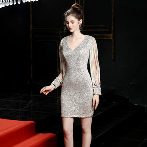 V-neck Wine Sequin Bodycon Mini Dress with Long Sleeves