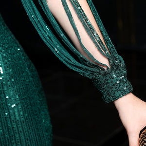 V-neck Forest Green Sequin Mermaid Maxi Dress with Long Sleeves