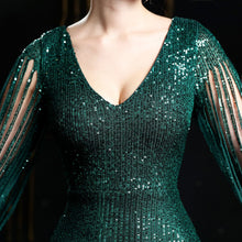 Load image into Gallery viewer, V-neck Forest Green Sequin Mermaid Maxi Dress with Long Sleeves