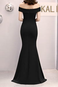 Off the Shoulder Black Satin Mermaid Maxi Dress with Slit